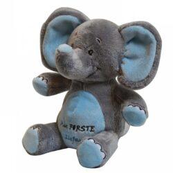 Min første elefant, lyseblå med tekst