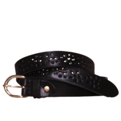Flower black leather belt
