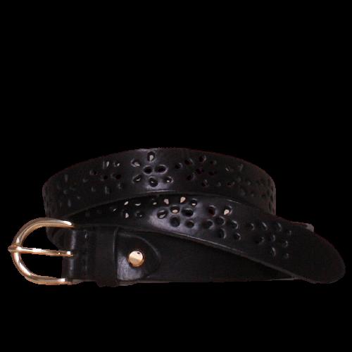 Flower black leather belt