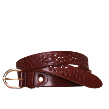Flower brown leather belt